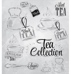 Set tea collection coal vector