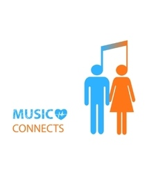 share - two people listening to the same music vector image vector image