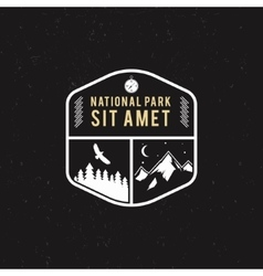 Stamp for national park mountain camp tourism vector
