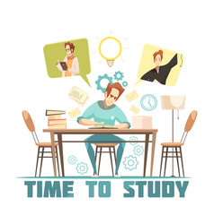 Student thinking above book design concept vector