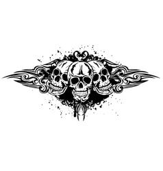 Three skulls vector