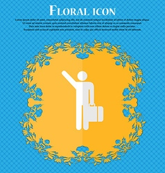 Tourist floral flat design on a blue abstract vector