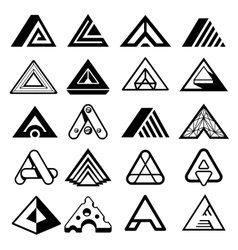 Triangle shapes for A letter logo and monogram vector image vector image