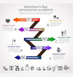 Valentines day arrow infographic vector
