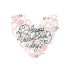 valentines day heart with many hearts vector image vector image