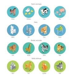 Wild exotic and farm animal set isometric vector