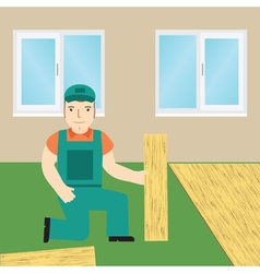 Worker laying laminate vector