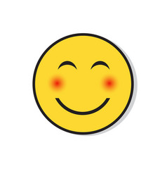 Yellow smiling face shy positive people emotion vector