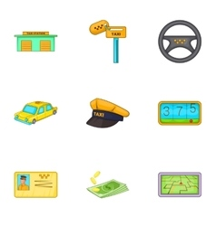 Taxi trip icons set cartoon style vector