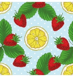 Seamless pattern with strawberry and lemon slices vector