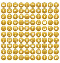 100 renovation icons set gold vector