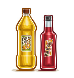 2 yellow and red bottles with palm oil vector