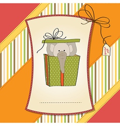 Birthday card with elephant in gift box vector