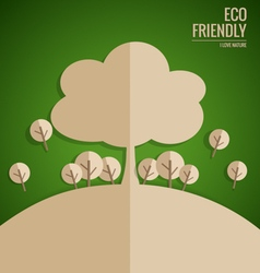 Ecology concept paper cut of tree on green vector