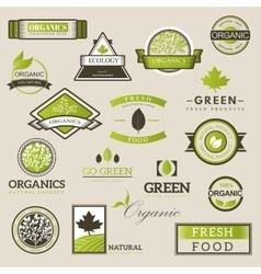 Fresh and natural food logos vector