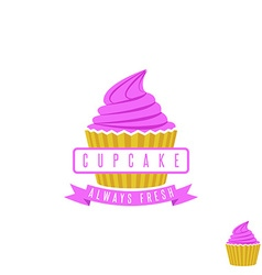 Cake shop logo sweet cupcake with pink cream and vector