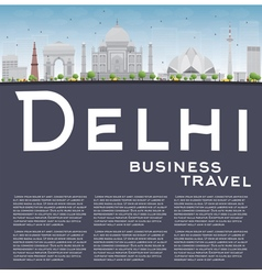 Delhi skyline with gray landmarks vector