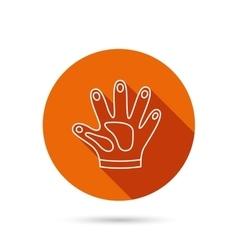 Construction gloves icon textile protection vector