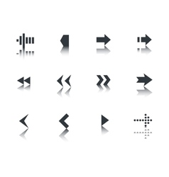 Arrows icon set with reflection vector