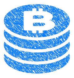 Bitcoin coin column grunge icon vector