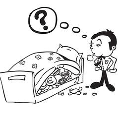 black and white man saving money vector image vector image