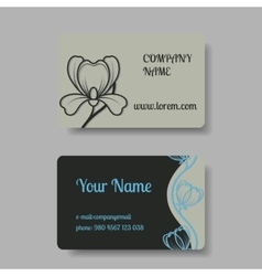 Business card collection with floral ornament vector