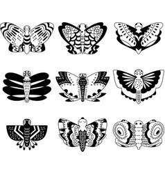 butterflies hand sketch black and white vector image vector image