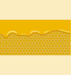 Cartoon yellow pattern with honeycomb and sweet vector