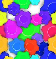 Colorful Gears Seamless Background vector image