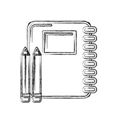 Contour rings notebook tool with pencils icon vector