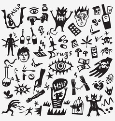 drugs doodles vector image