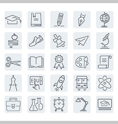 Education outline icon set vector