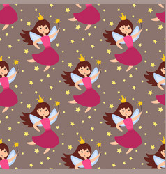 fairy princess adorable characters seamless vector image
