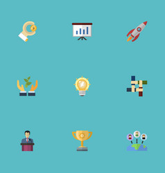 flat icons rocket coin support and other vector image vector image