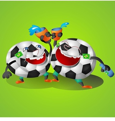Football Cartoon on green background vector image