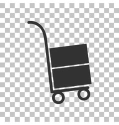 Hand truck sign dark gray icon on transparent vector