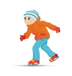 happy boy in warm clothes ice skating in winter vector image
