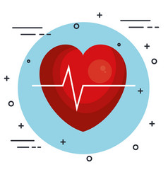 Heart and ecg design vector