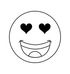 Heart eyes emoticon icon vector