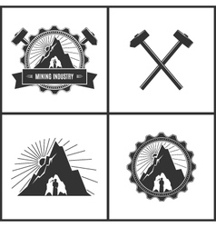 Mining Industry Label or Badge vector image vector image