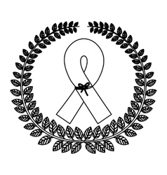 Monochrome silhouette with olive crown with symbol vector