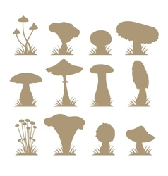 Mushrooms silhouette icons set vector image