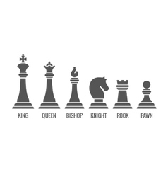 Named chess piece icons set vector