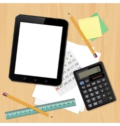 Office desk with business objects vector