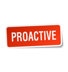 Proactive square sticker on white vector