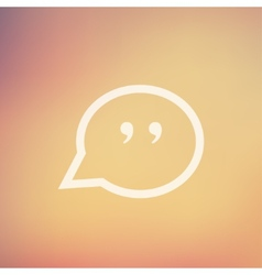 Quotation mark speech bubble in flat style icon vector