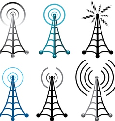 radio tower symbols vector image