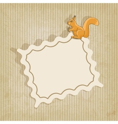 retro background with squirrel vector image vector image