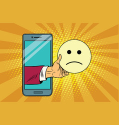 Sadness resentment emoji emoticons in smartphone vector