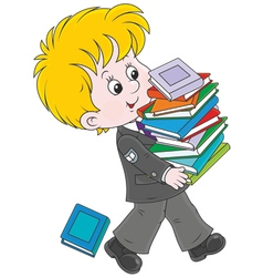 Schoolboy with textbooks vector